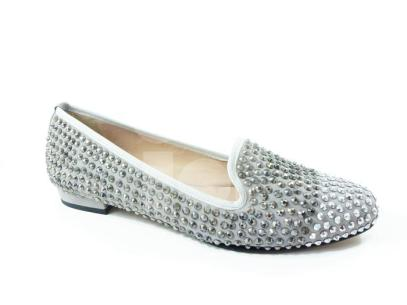 cinders suede loafer encrusted with crystals - ice grey and rose pink ?139.95