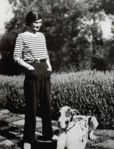 coco chanel in her famous stripes