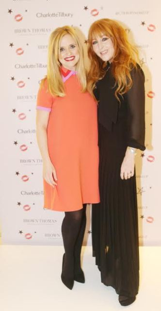 NO REPRO FEE.6/11/2015.International makeup artist , Charlotte Tilbury with Karen Koster in Brown Thomas Dublin. Charlotte opened another counter in BT2 Dundrum and in Brown Thomas Limerick in January. Photo: Leon Farrell/Photocall Ireland.
