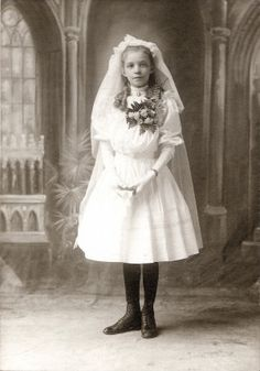 Ella von Koenitz first communion portrait. Photograph by Charles F. Meier,  ca. 1900 Missouri History Museum Photograph and Print Collection. St. Stephen's Mission Collection  n20133